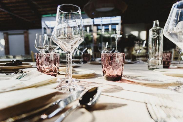 Drinks on table in restaurant