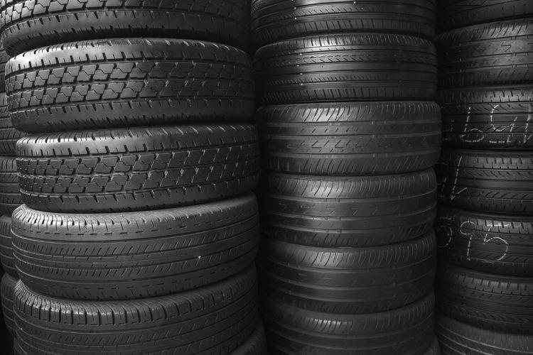 Full frame shot of stacked tires