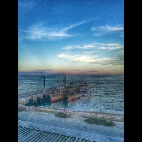 By the port. Port Sea Horizon Sunset sky blue scenery landscape boat HDR shotaward litratongpinoy igers igerscebu instagramhub instagram tagstagram tagsforlikes TFLers IG_LIVORNO fotografia photography