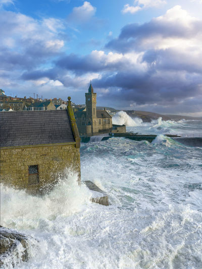 Blue Built Structure Cloud - Sky Cloudy Cornwall Day Motion No People Outdoors Porthleven Power In Nature Sea Sky Storm Stormy Sea Stormy Weather Water Wave