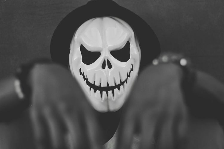 Human Skull Mystery Spooky Horror Only Men One Person Outdoors Mask - Disguise This Is My Skin My Best Photo