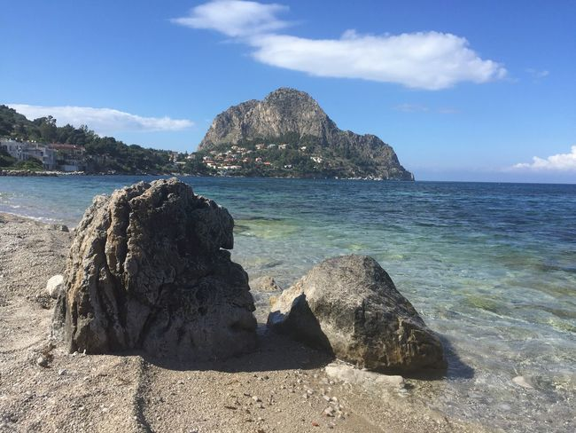 Sicily, Italy Water Sky Sea Beach Land Beauty In Nature Rock Scenics - Nature Tranquility Tranquil Scene Sunlight Cloud - Sky No People Rock Formation Rock - Object Outdoors Day Solid Horizon Over Water Nature