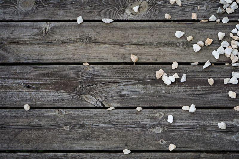 Full frame shot of bread on wooden table