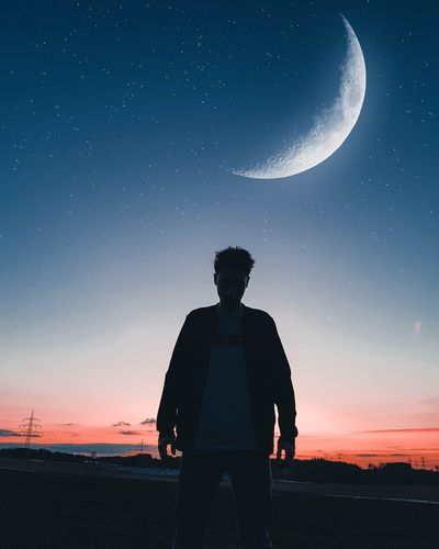 Man in The moon Moon Moonlight Sky Red Blue Stars Astronomy Star - Space Space Moon Standing Sunset Men Silhouette Mid Adult Men Mid Adult Poppy