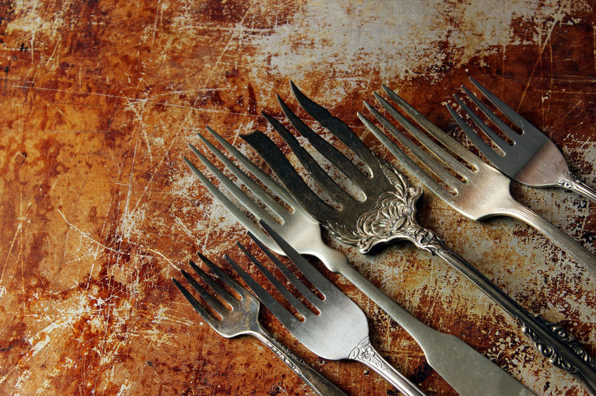 Forks Antique Baking Sheet Concept Cooking Culinary Cutlery Design Eating Food And Drink Forks Gourmet Meal Menu Metal Mock Up Open Space Room For Copy Rustic Silver  Silverware  Styled Tarnished Template Top View Variety