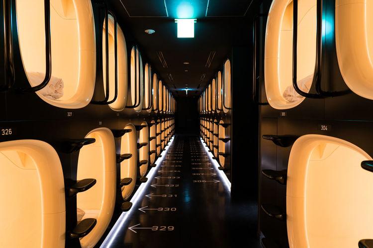 Numbers Capsule Capsules Clean Contrast Corridor Future Hotel Illuminated Japan Organised Structure Tokyo