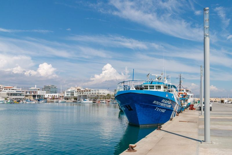 Blue ship on the pier in the port, Cyprus, Limassol Cyprus. Limassol Limassol Cyprus Port Marine Nautical Vessel Water Transportation Mode Of Transportation Harbor Ship Sea Cloud - Sky Sky Travel Blue Day Pier No People Outdoors My Best Photo