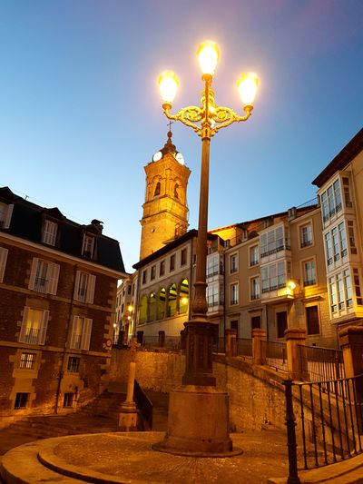 Vitoria Architecture Built Structure Building Exterior Travel Destinations Gold Colored Façade City Low Angle View Clear Sky Sky Text No People Gold Outdoors Lion - Feline Statue Night Clock Tower Clock Symplicity Streamzoofamily Españoles Y Sus Fotos