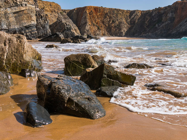 Nature Nature Photography Portugal Tranquility Travel Travel Photography Traveling Wave Beach Beauty In Nature Cavaleiro Cliff Flowing Water Nature_collection Naturelovers Photography Rock - Object Rocky Coastline Sand Scenics Scenics - Nature Sea Tranquil Scene Travel Destinations Water