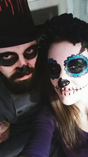 Couples❤❤❤ Spooky Portrait Looking At Camera Halloween Human Face Mask - Disguise Evil Horror Smiling Calaveracollection Calaverita Skulls💀 Skull Face Halloween Sugarskull Woman Calavera  My Love ❤ My One And Only <3 The Man Of My Life