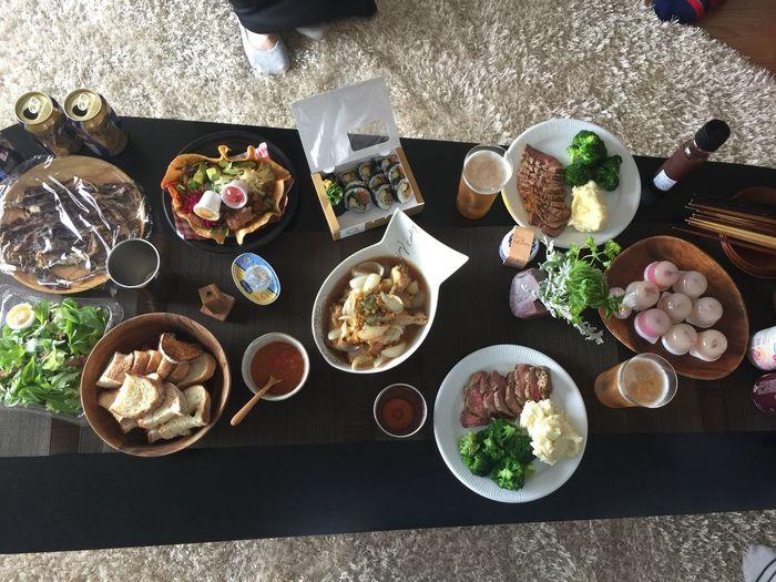持ち寄ったり作ってもらったり Food Food And Drink Table Freshness High Angle View Plate Ready-to-eat