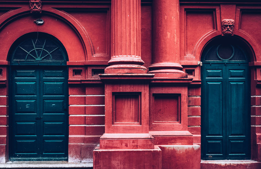 Bangalore Bengaluru India Architecture Blore Building Exterior Built Structure Day Door Green Doors Karnataka No People Outdoors Red Red Wall Vintage