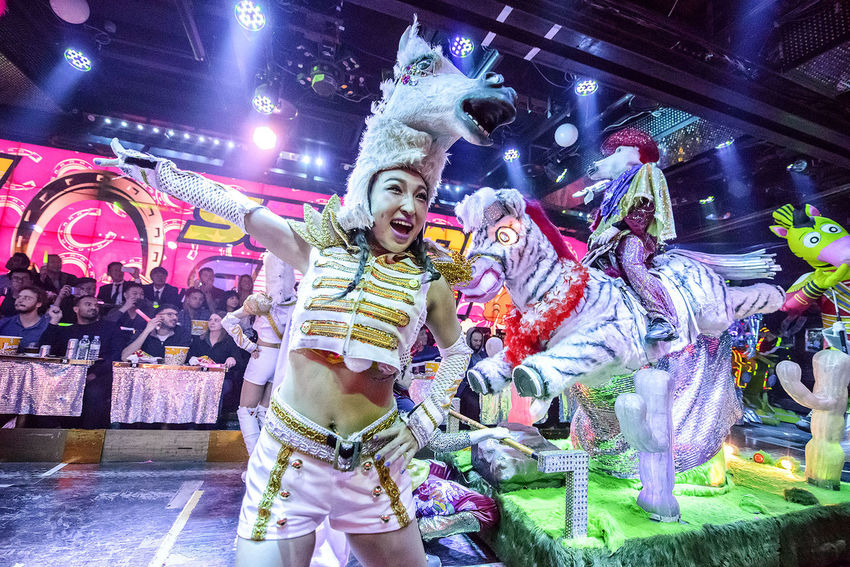 Adult Adults Only Audience Cheerful Colourful Dance Entertainer Entertainment Fun Fun Horse Indoors  Kabukicho Multi Colored Music Neon Lights Night People Smiling Stage Costume Wacky Women