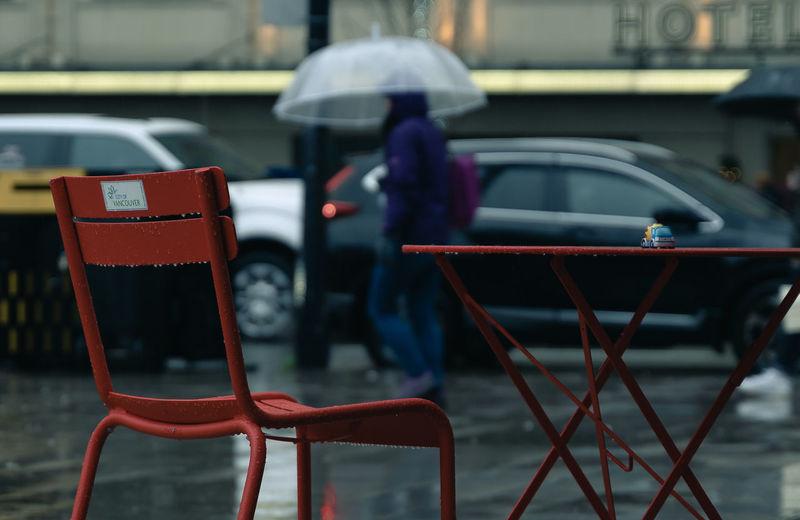 Wet car parked in rainy season