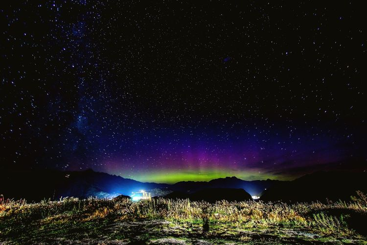 Aurora Australis from Coronet Peak, Queenstown, NZ Tranquil Scene Night Scenics Star - Space Tranquility Beauty In Nature Star Field Landscape Nature Non-urban Scene Idyllic Galaxy Sky Majestic Star Tourism Remote Dark Space Mountain Astrophotography Aurora Aurora Australis