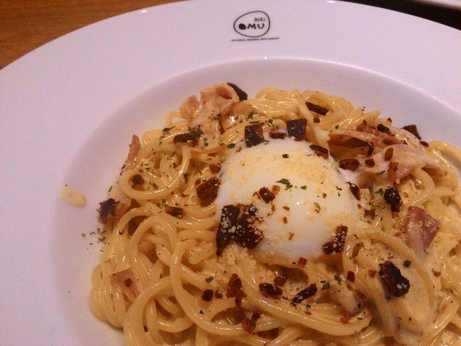 Carbonara pasta with onsen egg. (soft-boiled egg) Foodphotography Pasta Carbonara Foodstagram Foodgasm Dinner Food Photography Foodspotting Foodlover Foodporn