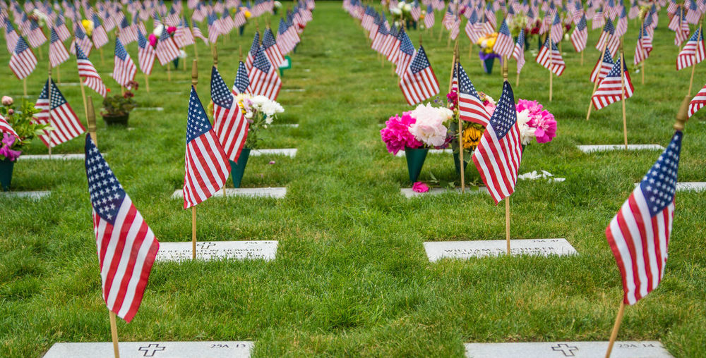 Flags at a National Cemetery on Memorial Day American Celebration Day Flag Grass Holiday - Event Memorial Day Military No People Outdoors Patriotism Pride Stars And Stripes Striped Waving