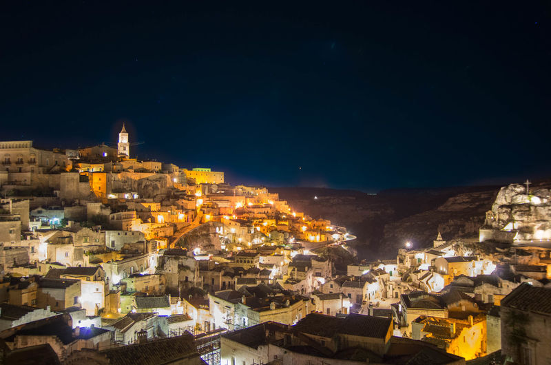 Architecture Building Exterior Built Structure City Cityscape Illuminated Matera Night Old Town Outdoors Residential District Town