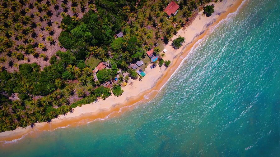 Aerial scenic view of turquoise sea