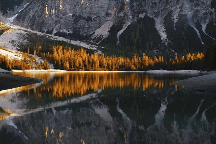 Dolomites Red Day Italy Lake Lake Of Braies Mountain Mountain Range Nature No People North Italy Outdoors Reflection Scenics Sky Sunset Tree Water