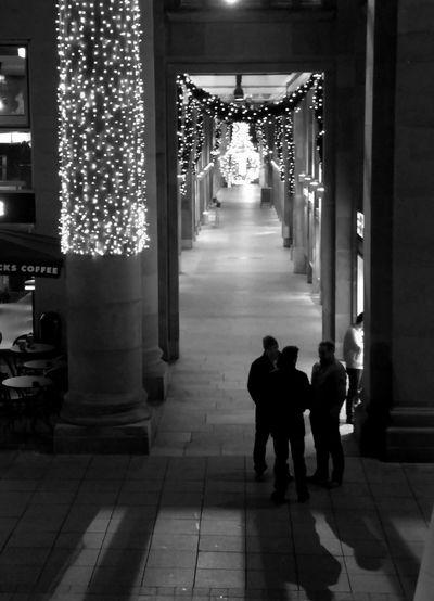 Blackandwhite City Life Column Corridor Light And Shadow Night Lights Silhouettes Streetphoto_bw Königsbaupassage Learn & Shoot: After Dark