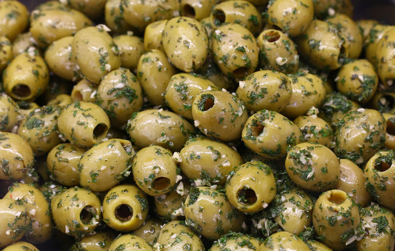 Full frame shot of marinated olives