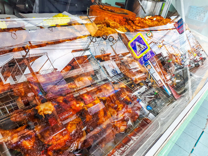 ข้าวหมกไก่ย่าง Food Road Grilled Chicken Roasted Pork Multi Colored Supermarket Backgrounds Close-up Display
