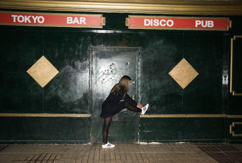 Dance all Night, Sleep all Day Linas Was Here Pub Underground Bar Bricks Disco Flashlight Girl Night Rave Tiles Urban Place White Sneekers