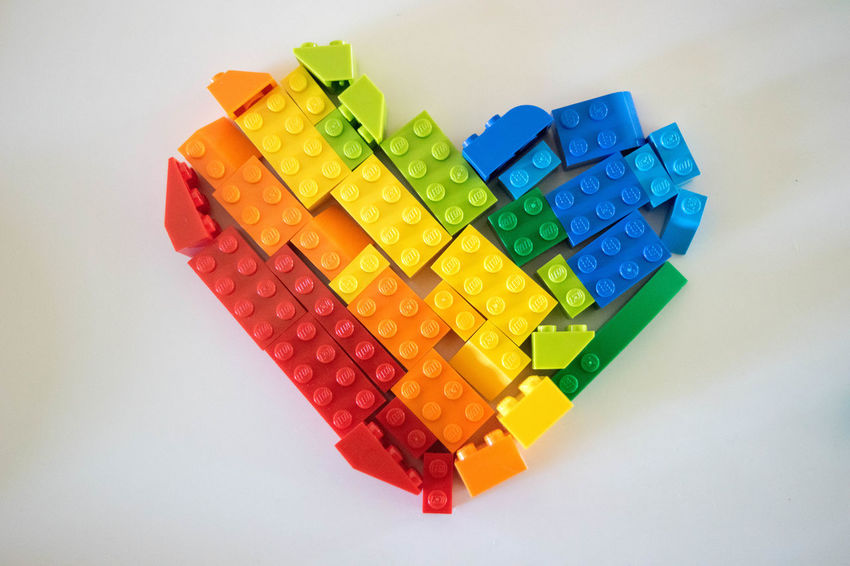 Equal Rights  LEGO Shape Choice Close-up Colorful Equality Gay Rights Heart Heartshape High Angle View Indoors  Lgbtq Loveislove Multi Colored No People Pride Studio Shot Toy Block Variation White Background