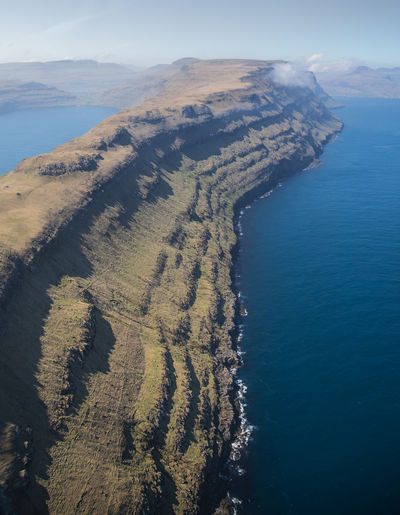 High angle view of sea and land