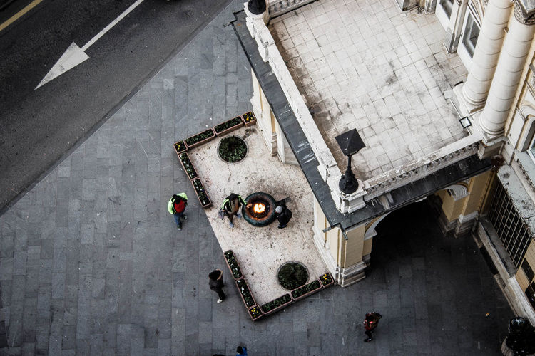 High angle view of people working on street