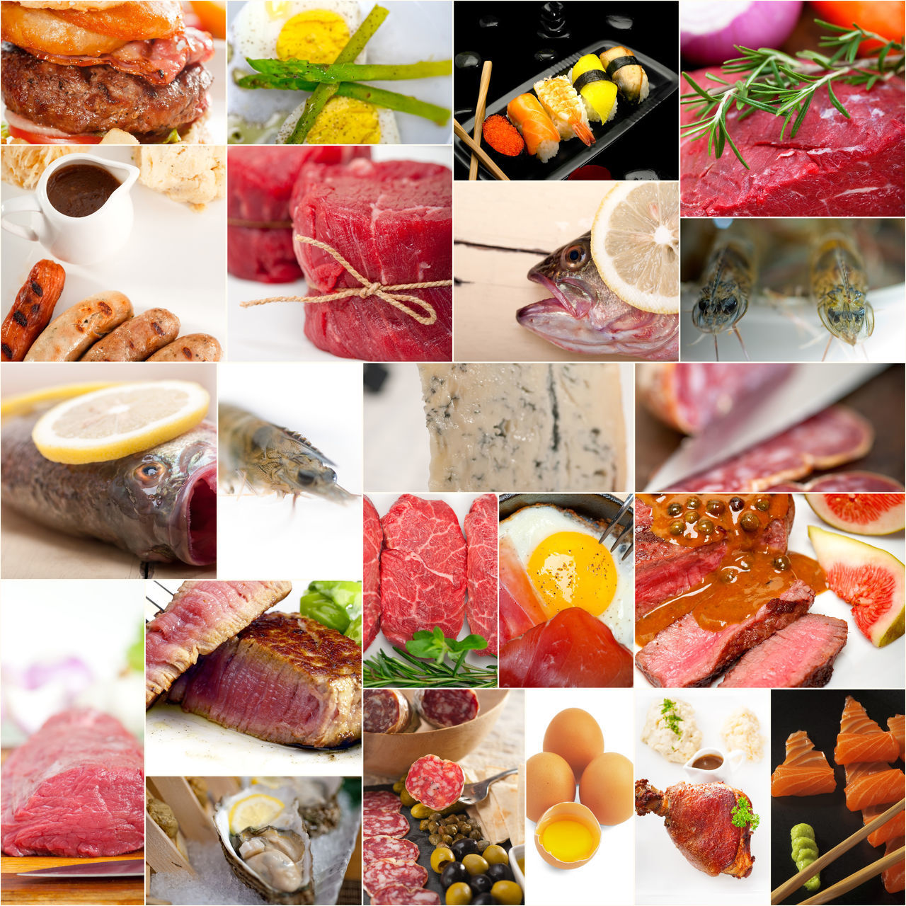 collage, food and drink, food, still life, variation, collection, digital composite, meat, freshness, choice, slice, close-up, raw food, ready-to-eat, indoors, healthy eating, no people, multi colored, salmon, sushi