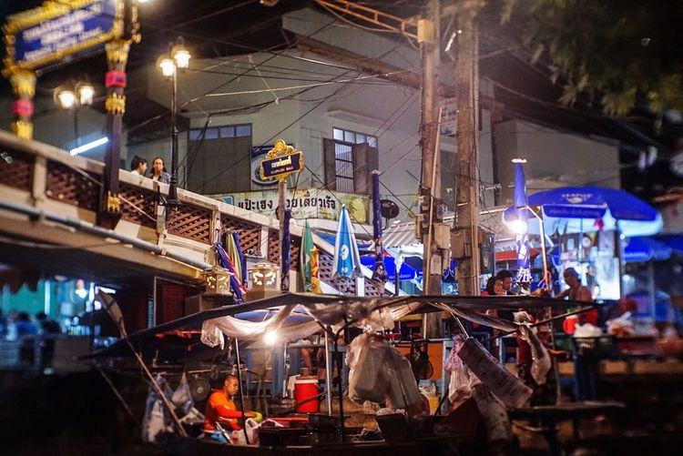 open your eyes Night Amphawa  Floating Market Built Structure Illuminated Thailand