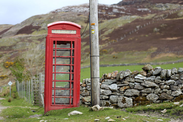 Communication Connection Old-fashioned Outdoors Pay Phone Red Telephone Telephone Booth