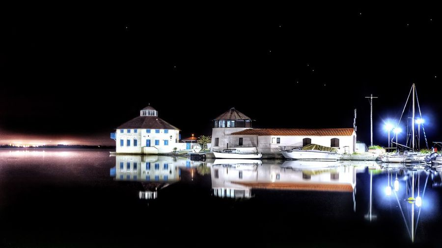 Calm night. HDR White Calm Sea And Sky Sea Barcares France Stars Mirror Reflection Long Exposure Nightphotography Ship Sailing Canon Illuminated Night Reflection Water Building Exterior Sky Architecture Waterfront Building