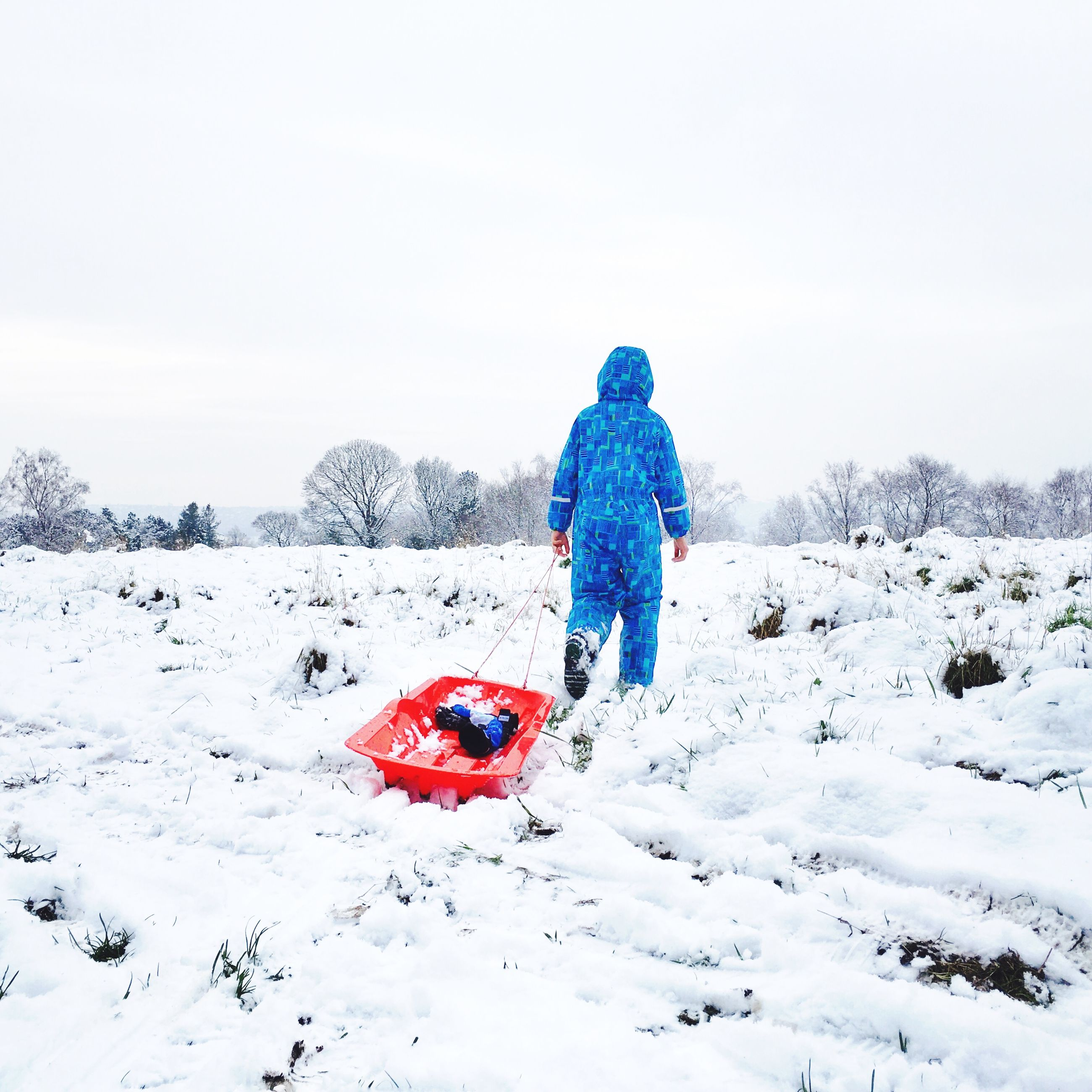 snow, winter, cold temperature, season, weather, lifestyles, leisure activity, warm clothing, full length, covering, landscape, field, frozen, rear view, clear sky, nature, childhood, tranquility