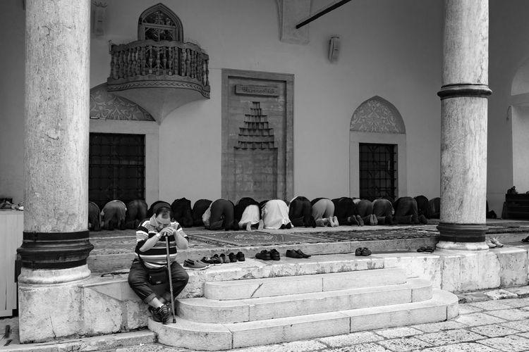 prayer Culture Day Historic History Man Mosque Muslims Oldtown Pray Praying Sarajevo Sarajevobosnia Sitting Travel Travel Photography