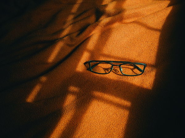 Backgrounds Close-up Indoors  Eye Glasses Vision Room Orange Bed Be. Ready.