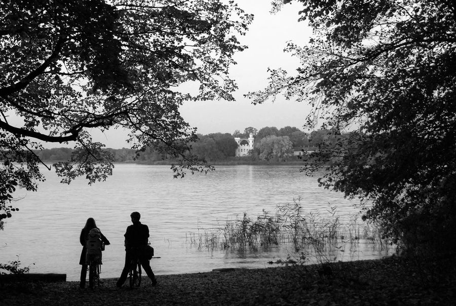 Adult Beauty In Nature Berlin Black & White Black And White Blackandwhite Castle Couple Monochrome Monochrome Photography Nature Outdoors People Pfaueninsel Real People Silhouette Sky Togetherness Tree Two People Water Lake Man Woman CyclingUnites