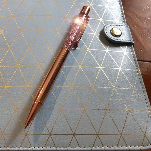 Planner Organised Organiser Gold Rose Gold Pen Glitter Diary Planner No People Indoors  Day