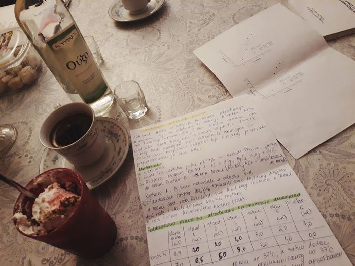 Uzo Cup Paperwork Paper Coffee Coffee - Drink Coffee Cup Writing Writing Instrument Ink Well Paper Table Handwriting  High Angle View Close-up Quill Pen Writing Instrument Ballpoint Pen Pen Page Desk Organizer Information