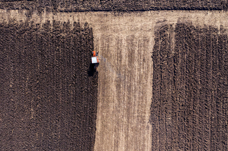 High angle view of machinery on field
