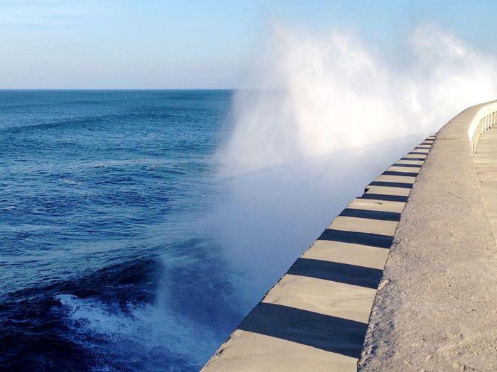 Sea And Sky Waves Crashing Waves, Ocean, Nature Waves Wave Power Station Power Light And Shadow EyeEmFiveSenses Hear the sound of the waves! Blue Wave