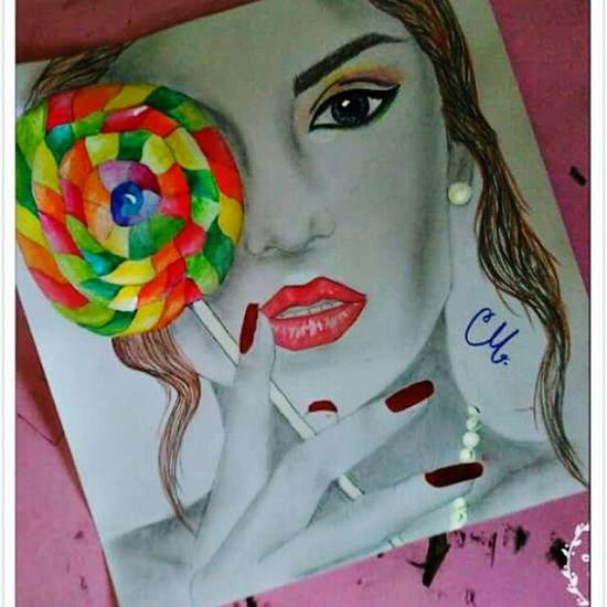 Art, Drawing, Creativity Pencil Drawing Art Girl Rainbow Colors Happiness