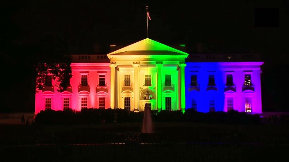 Rainbow White House for marriage equality. Lovewins The White House