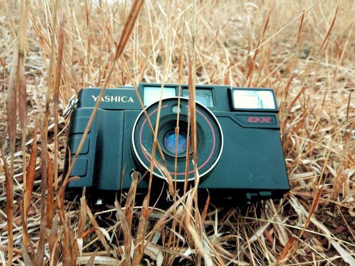 Close-up of camera on field