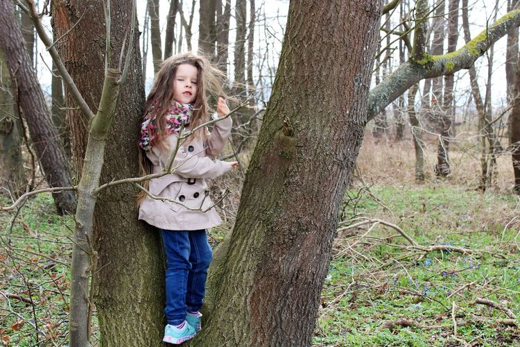 Little Girl In The Forest Tree One Person People Forest Nature Outdoors Day Portrait Standing One Young Woman Only Leisure Activity Children Photography