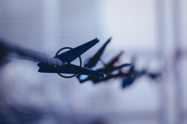 Close-up of clothespins hanging on metal fence against wall