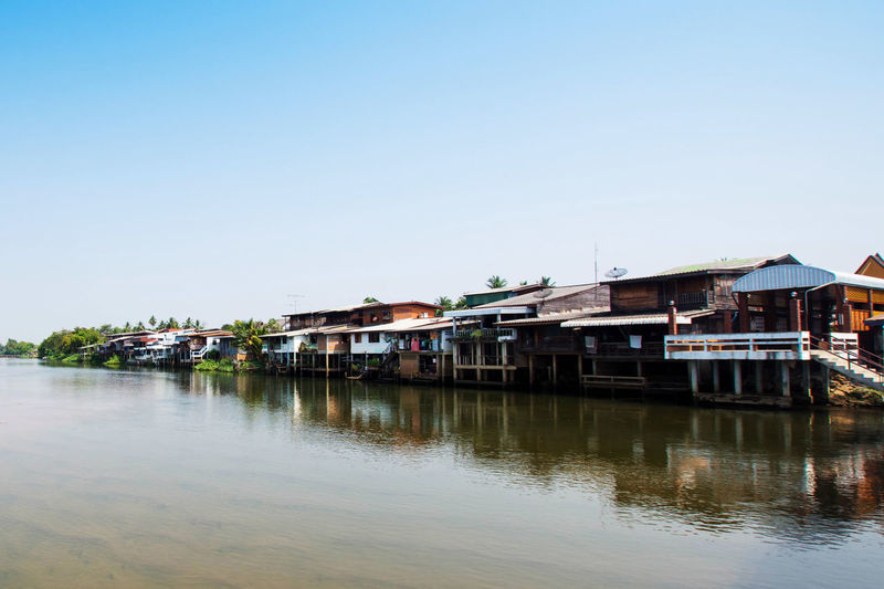 Architecture Boathouse Building Exterior Built Structure Clear Sky Day Mode Of Transport Moored Nautical Vessel No People Outdoors Reflection River Sky Transportation Water Waterfront Waterfront Houses