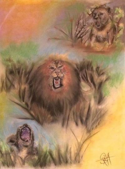 Hanging Out Check This Out Enjoying Life Eye4photography  Artistic Portrait Arts Culture And Entertainment Artist Painting Art Oil Painting Paintings Acrylic Painting Art Gallery Lion Lions Lion Painting